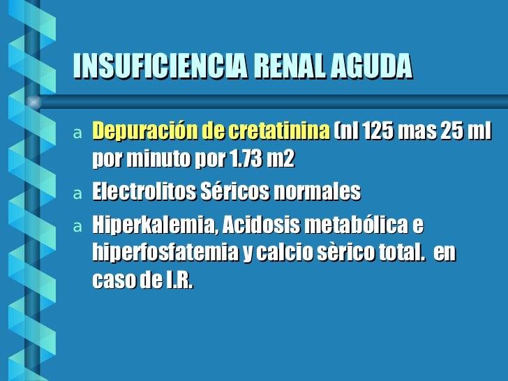 INSUFICIENCIA RENAL AGUDA  <ul><li>Depuración de cretatinina  (nl 125 mas 25 ml por minuto por 1.73 m2 </li></ul><ul><li>E...