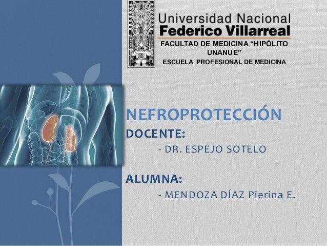 """DOCENTE: - DR. ESPEJO SOTELO ALUMNA: - MENDOZA DÍAZ Pierina E. NEFROPROTECCIÓN FACULTAD DE MEDICINA """"HIPÓLITO UNANUE"""" ESCU..."""