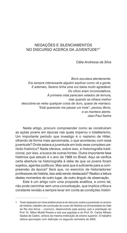 NEGAÇÕES E SILENCIAMENTOS          NO DISCURSO ACERCA DA JUVENTUDE*1                                                      ...