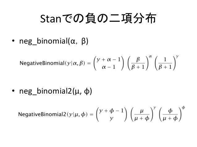 Stanでの負の二項分布 • neg_binomial(α,β) • neg_binomial2(μ, φ)