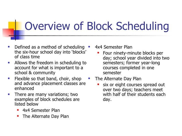 block scheduling colleges