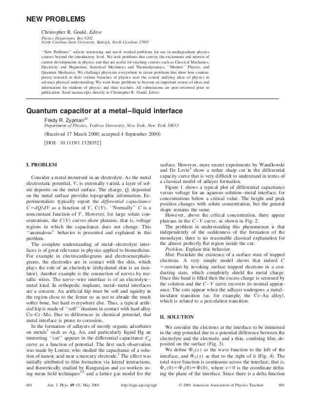 Quantum capacitor at a metal–liquid interface Fredy R. Zypmana) Department of Physics, Yeshiva University, New York, New Y...