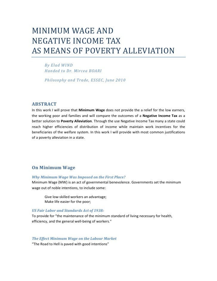 MINIMUM WAGE AND <br />NEGATIVE INCOME TAX <br />AS MEANS OF POVERTY ALLEVIATION <br />By Elad WINDHanded to Dr. Mircea BO...