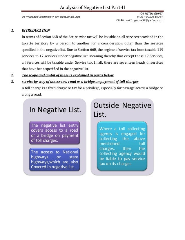 Analysis of Negative List Part-IICA NITIN GUPTADownloaded from:www.simpletaxindia.net MOB:-9953519787EMAIL:-nitin.gupta52@...