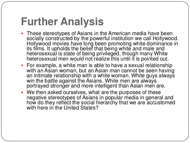 asian stereotyping in films an analysis Research into the representation of gender and body image in the press a visual and textual analysis examining  representation and what exactly stereotyping.