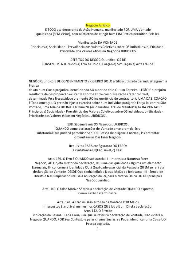 Negócio Jurídico E TODO ato decorrente da Ação Humana, manifestado POR UMA Vontade qualificada (SEM Vicios), com o Objetiv...