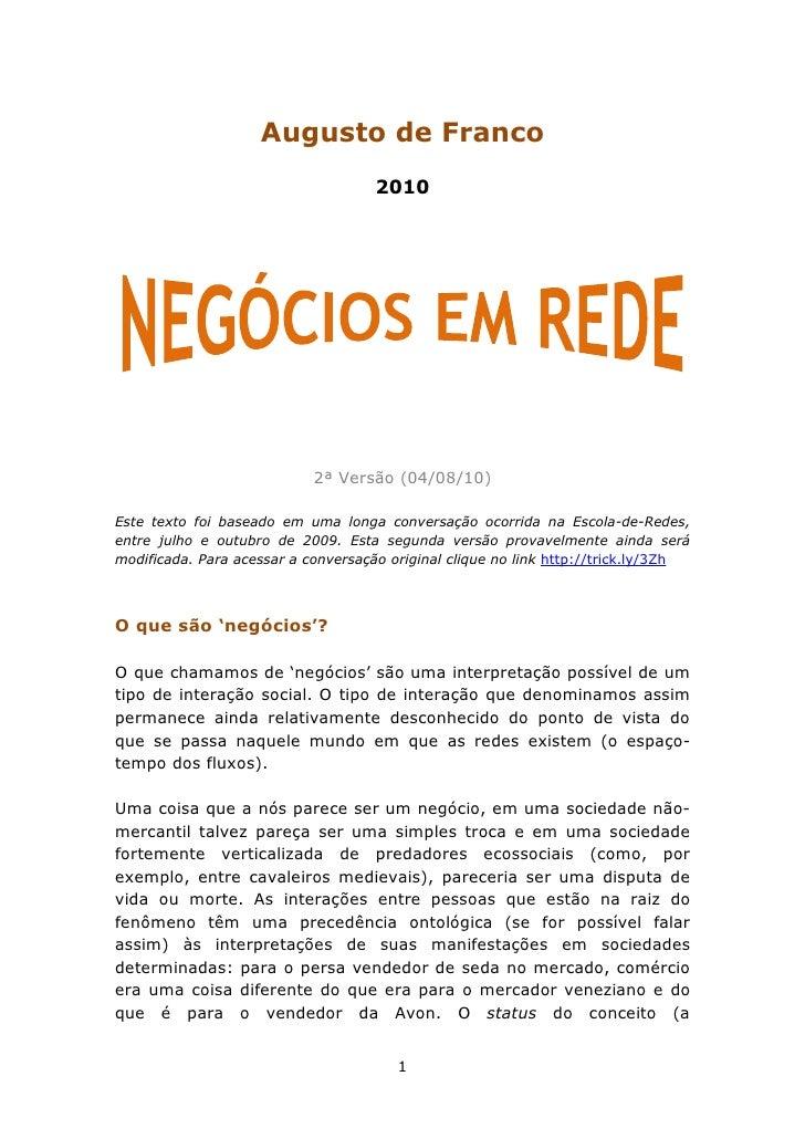 NEGÓCIOS EM REDE