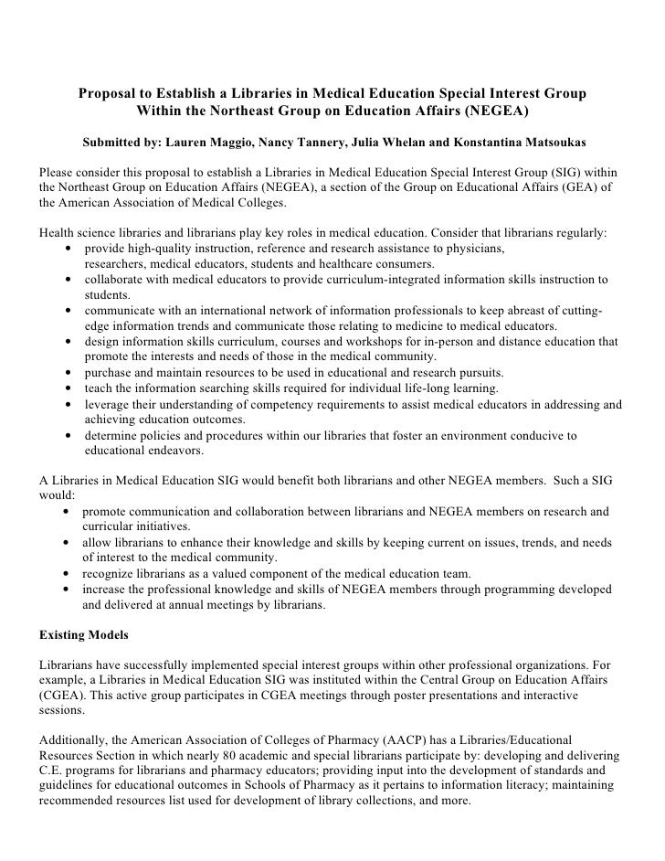 Proposal to Establish a Libraries in Medical Education Special Interest Group                Within the Northeast Group on...