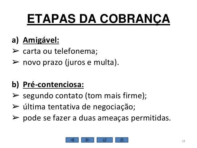 ETAPAS DA COBRANÇA a) Amigável: ➢ carta ou telefonema; ➢ novo prazo (juros e multa). b) Pré-contenciosa: ➢ segundo contato...
