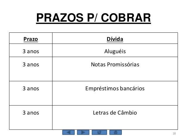 PRAZOS P/ COBRAR Prazo Dívida 3 anos Aluguéis 3 anos Notas Promissórias 3 anos Empréstimos bancários 3 anos Letras de Câmb...