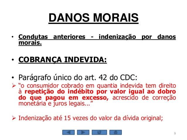 DANOS MORAIS • Condutas anteriores - indenização por danos morais. • COBRANÇA INDEVIDA: • Parágrafo único do art. 42 do CD...