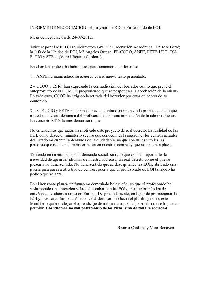 INFORME DE NEGOCIACIÓN del proyecto de RD de Profesorado de EOI.-Mesa de negociación de 24-09-2012.Asisten: por el MECD, l...