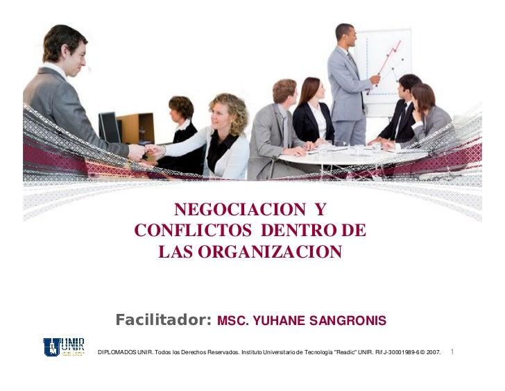 NEGOCIACION Y             CONFLICTOS DENTRO DE               LAS ORGANIZACION      Facilitador: MSC. YUHANE SANGRONISDIPLO...