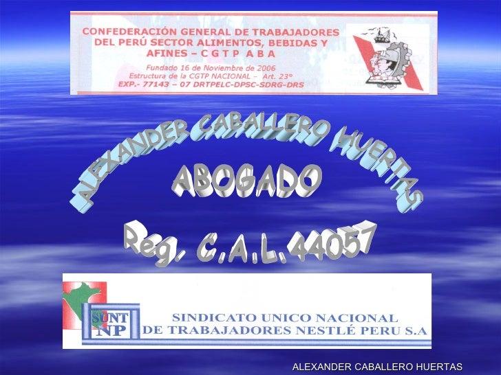 ALEXANDER CABALLERO HUERTAS ALEXANDER CABALLERO HUERTAS ABOGADO Reg. C.A.L.44057