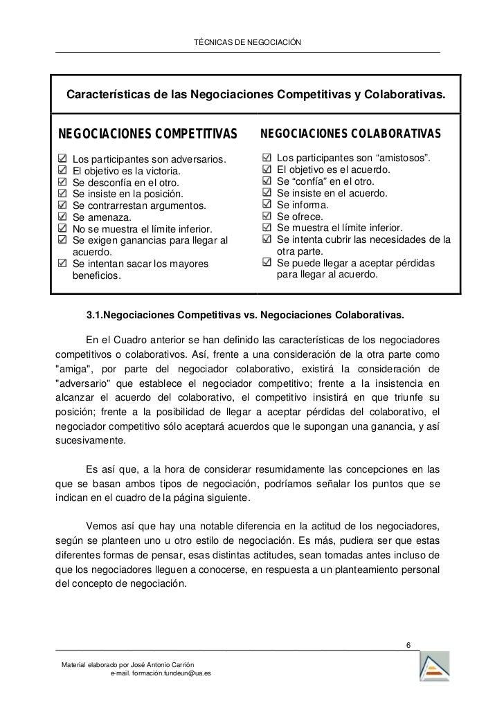 TÉCNICAS DE NEGOCIACIÓN  Características de las Negociaciones Competitivas y Colaborativas.NEGOCIACIONES COMPETITIVAS     ...