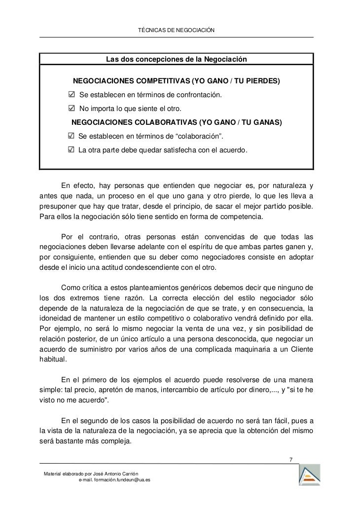 TÉCNICAS DE NEGOCIACIÓN                            Las dos concepciones de la Negociación             NEGOCIACIONES COMPET...