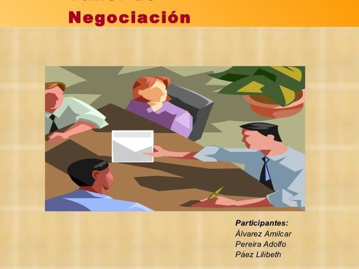 Participantes: Álvarez Amilcar Pereira Adolfo Páez Lilibeth Taller de Negociación