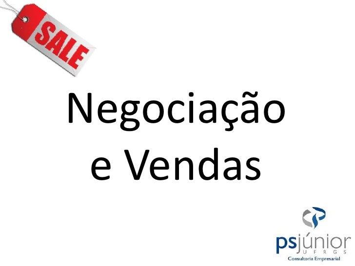 Negociação e Vendas<br />