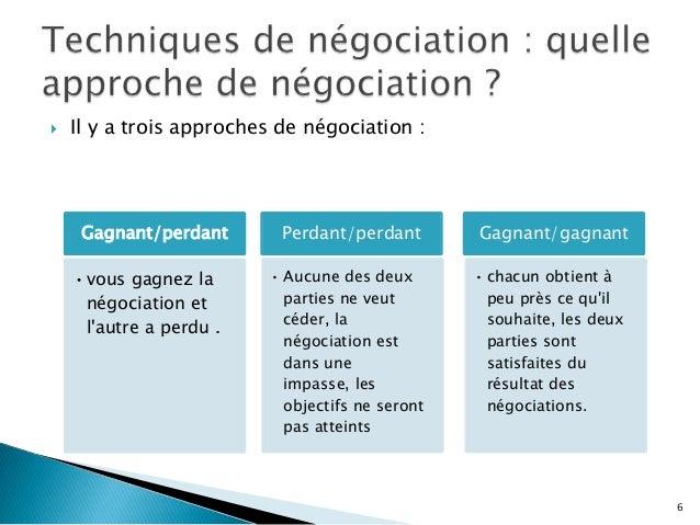   Il y a trois approches de négociation :  Gagnant/perdant • vous gagnez la négociation et l'autre a perdu .  Perdant/per...