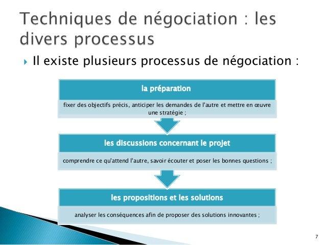   Il existe plusieurs processus de négociation : la préparation fixer des objectifs précis, anticiper les demandes de l'a...