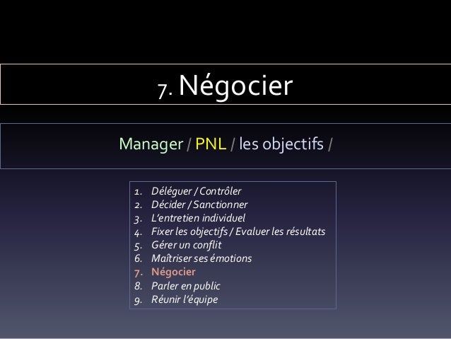 7. Négocier Manager / PNL / les objectifs / 1. Déléguer / Contrôler 2. Décider / Sanctionner 3. L'entretien individuel 4. ...