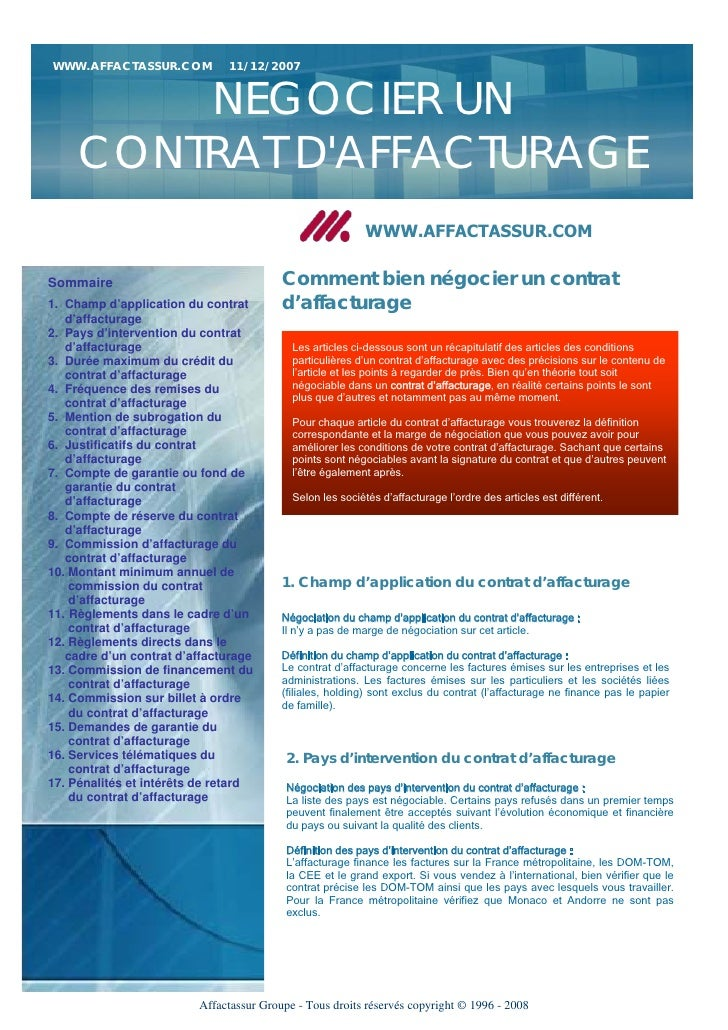 WWW.AFFACTASSUR.COM           11/12/2007         NEGOCIER UN     CONTRAT DAFFACTURAGE                                     ...