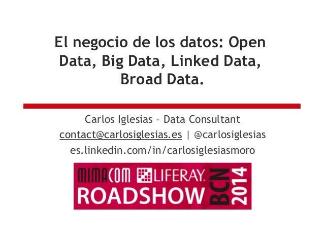 El negocio de los datos: Open Data, Big Data, Linked Data, Broad Data. Carlos Iglesias – Data Consultant contact@carlosigl...