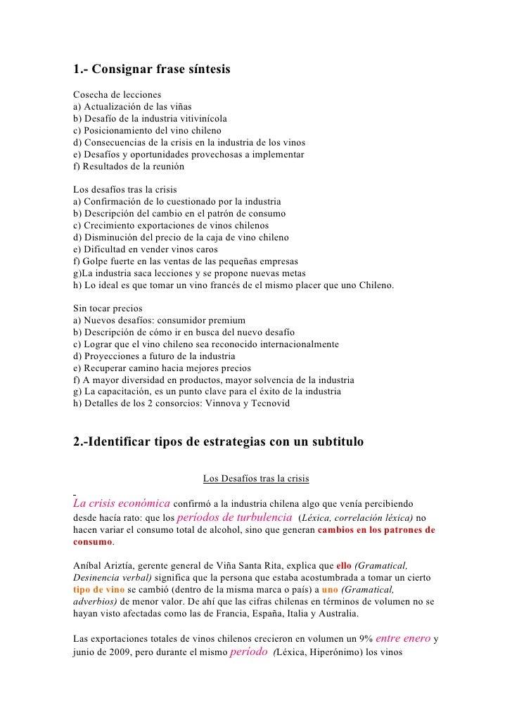 1.- Consignar frase síntesis Cosecha de lecciones a) Actualización de las viñas b) Desafío de la industria vitivinícola c)...