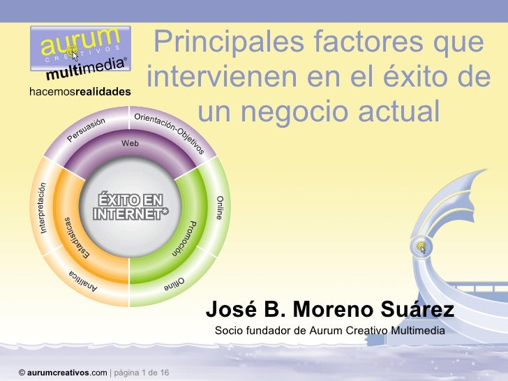 Principales factores que intervienen en el éxito de un negocio actual José B. Moreno Suárez Socio fundador de Aurum Creati...