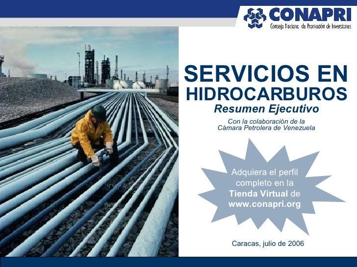 Con la colaboración de la Cámara Petrolera de Venezuela SERVICIOS EN  HIDROCARBUROS Resumen Ejecutivo Caracas, julio de 20...