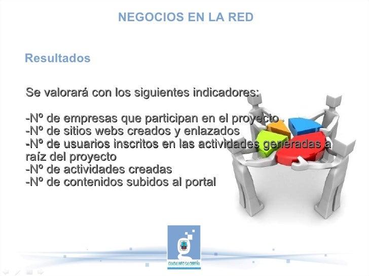 Resultados Se valorará con los siguientes indicadores: -Nº de empresas que participan en el proyecto -Nº de sitios webs cr...