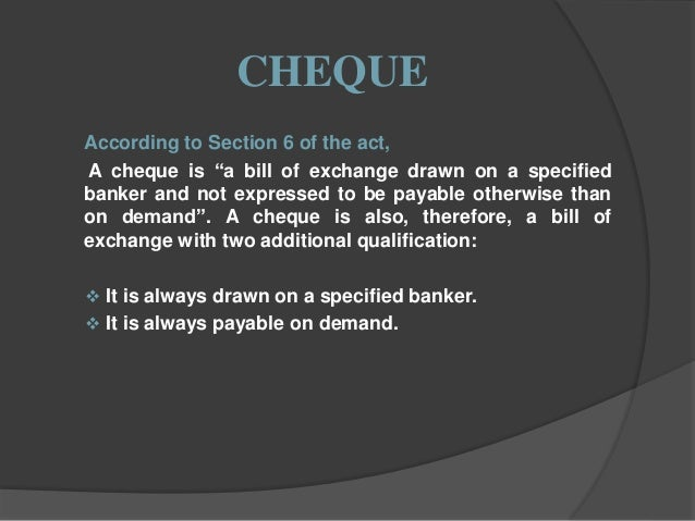 essential elements of a cheque