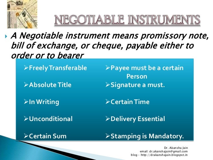 Role of negotiable instrument in the growth of commerce and trade