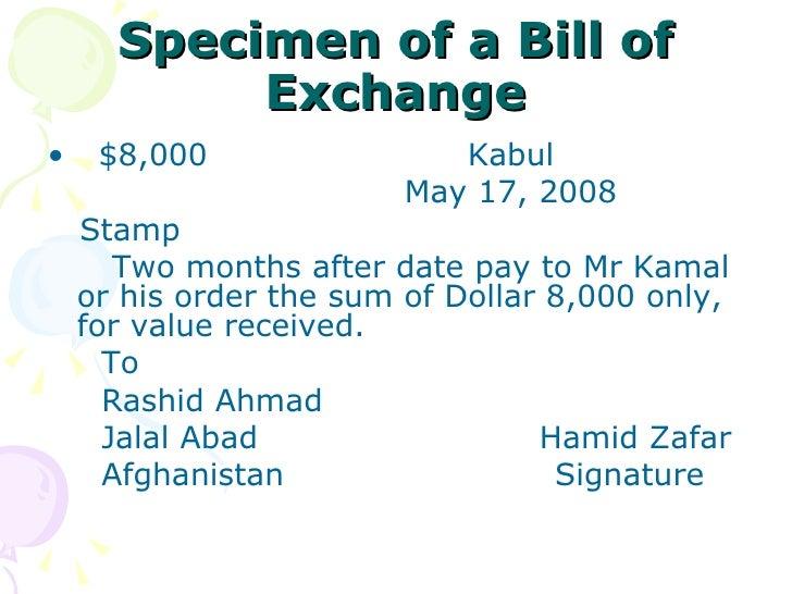 Negotiable instruments specimen of a bill of exchange altavistaventures Choice Image