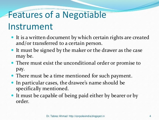 course notes negotiable instruments Estate containing negotiable instruments—in which the transferee is statutorily  denied holder in due course status1 a ''holder'' note first of all that in order to.