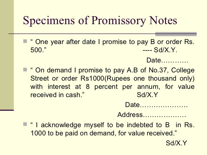 Negotiable instruments act 1881 – Indian Promissory Note Format