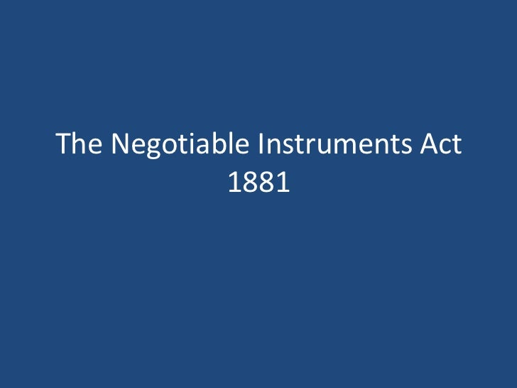 Negotiable Instruments Act, 1881