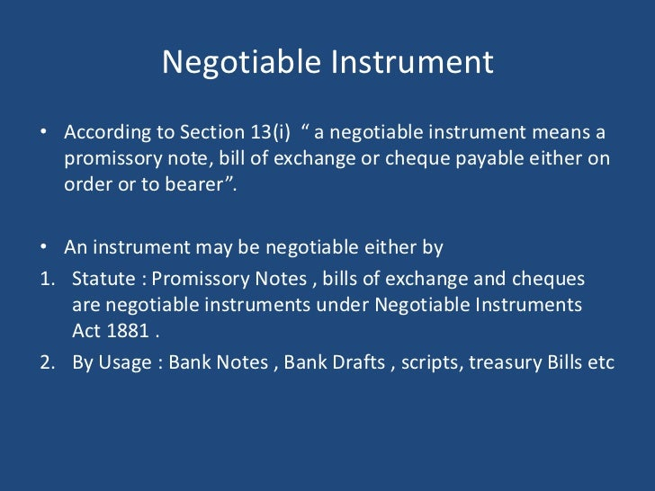 negotiable instrument act 1981