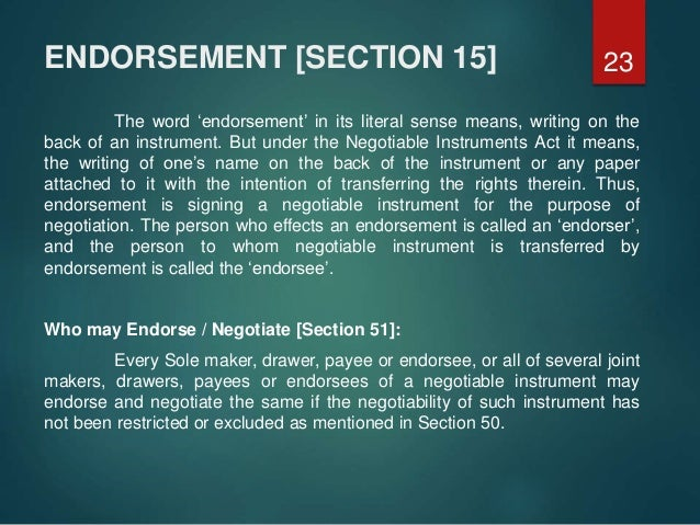 negotiable instrument act 1881 notes pdf