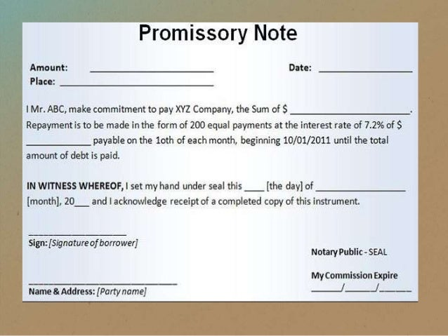 ... 15. Bill Of Exchange V. Promissory Note ...  Draft Of Promissory Note