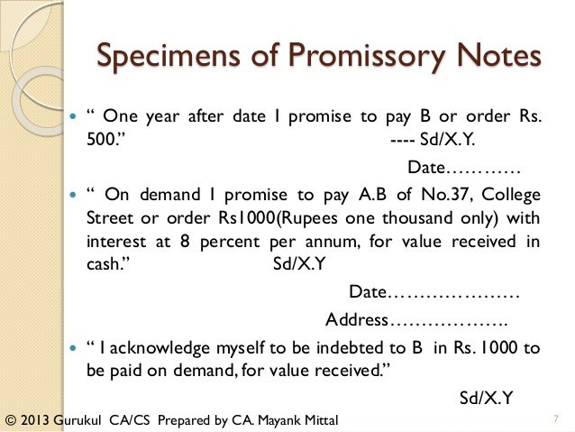 Negotiable instrument CAIPCC students – Student Promissory Note Sample