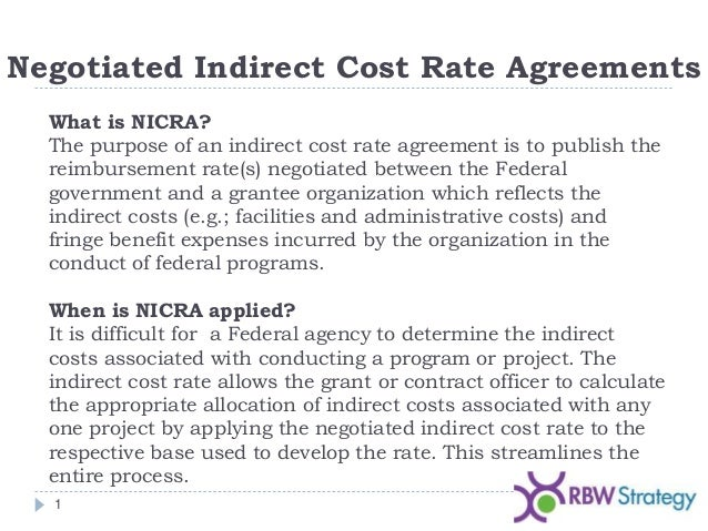 Negotiated Indirect Cost Rate Agreement Nicra
