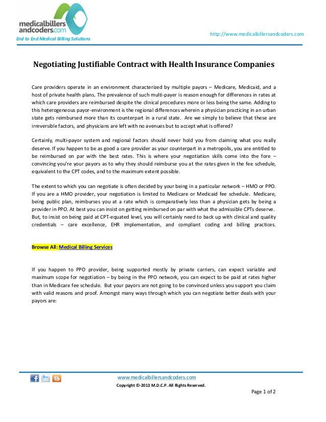 Negotiating justifiable-contract-with-health-insurance ...