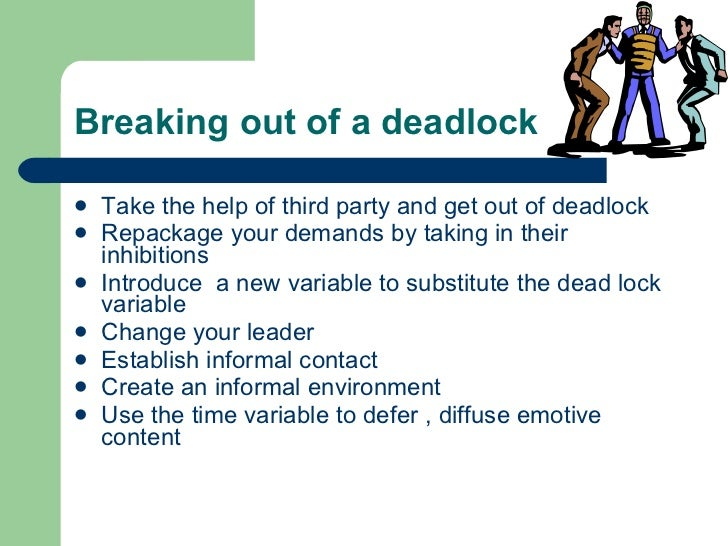 Breaking out of a deadlock <ul><li>Take the help of third party and get out of deadlock </li></ul><ul><li>Repackage your d...