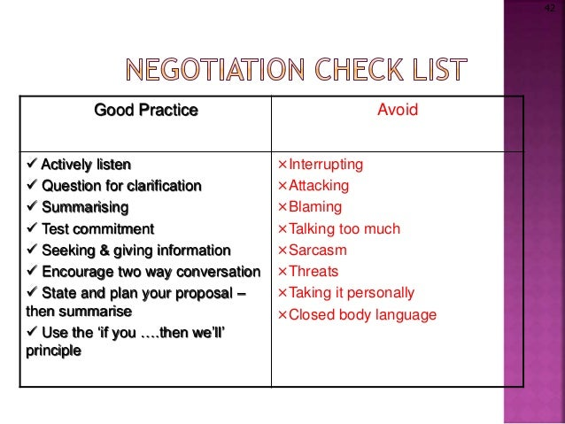negotiation class Negotiation skills are essential in daily interactions with others traditional  approaches to  by completion of this course, successful students will be able to.