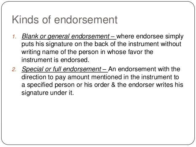negotiation and effects of endorsement