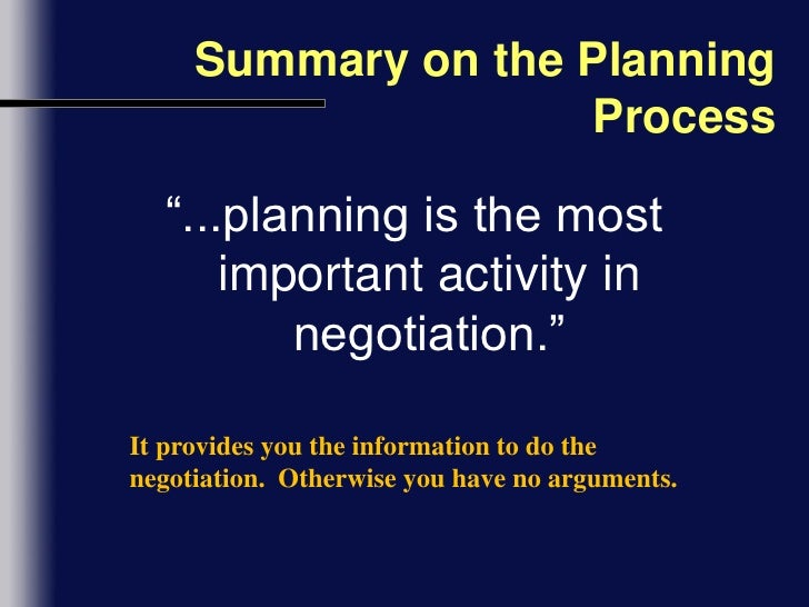 Negotiation Planning and Preparation
