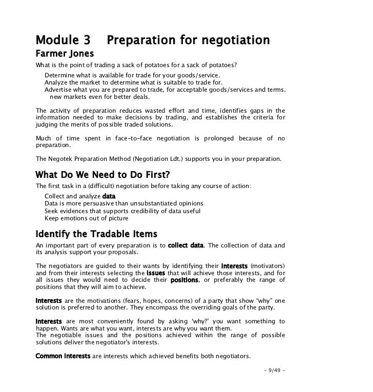 notes on negotiation Negotiations in procurement definition negotiation is defined as a process of communication with the objective of reaching an agreement by means, where appropriate.