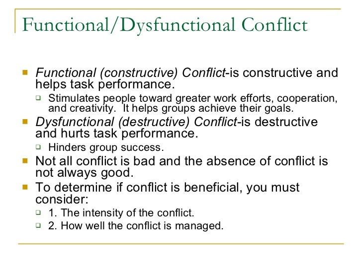 difference between functional and dysfunctional conflict ppt