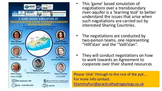• This 'game' based simulation of negotiations over a transboundary river-aquifer is a 'learning tool' to better understan...